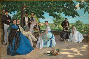 Jean-Frédéric Bazille (French, 1841–1870)  Family Reunion, 1867  Oil on canvas; 58 7/8 x 90 9/16 in. (152 x 230 cm)  Musée d'Orsay, Paris, Acquired with the participation of Marc Bazille, brother of the artist, 1905