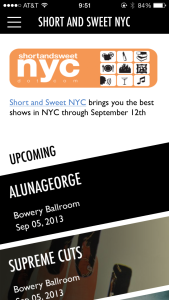 Timbre Shortandsweetnyc app